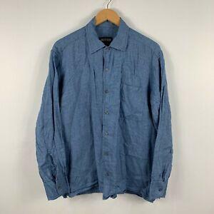 Country-Road-Men-Button-Up-Shirt-Size-Medium-Blue-Long-Sleeve-100-Linen