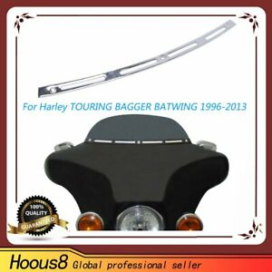 Chrome-Metal-Slotted-Windshield-Trim-For-Harley-Touring-Bagger-Batwing-1996-2013