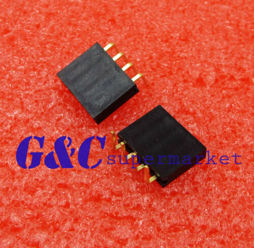 100PCS 2.54mm Pitch 1x4Pin Header Right Angle Female Single Row Socket Connector