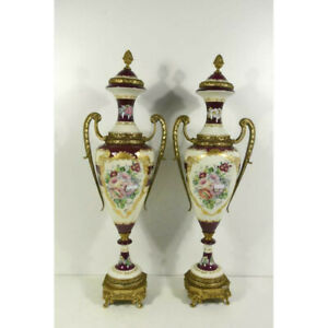 "PAIR 25.5"" XL french Vieux paris porcelain Floral decor Vases marked lion paws"