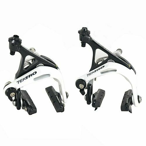 Envío rápido TEKTRO R741 Pinza de freno de doble pivote de Bicicleta de Carretera Conjunto, Negro X blancoo