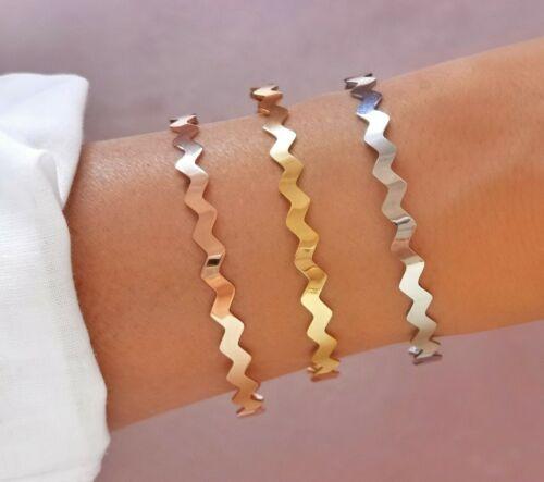 Edelstahl Armreif Armband Welle Strand Muster silber rose gold Damen Frauen
