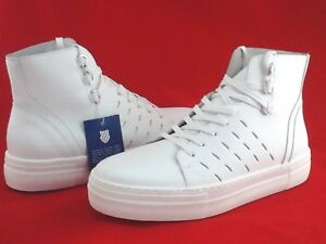 5157bec4e9c9 K-SWISS High Top Shoes White Leather Basketball Sneakers Women s US ...