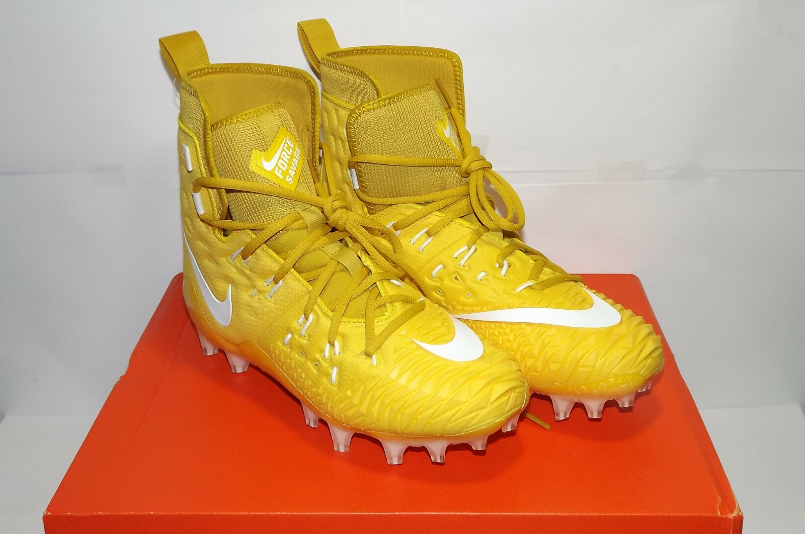 MEN'S NIKE FORCE SAVAGE ELITE TD 857063 717 FOOTBALL CLEATS YELLOW WHITE SIZE 11