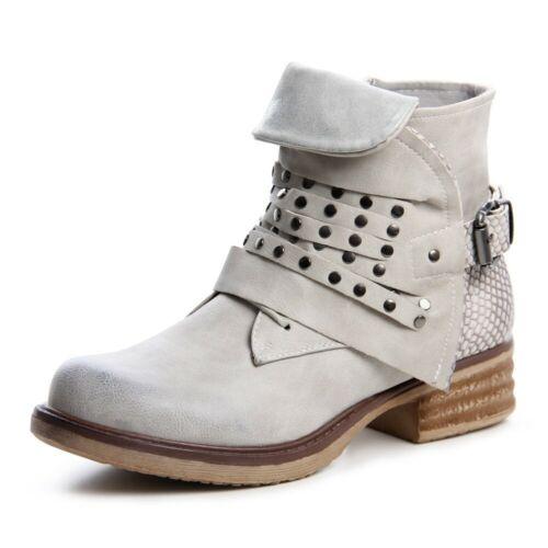 Damen Stiefeletten Biker Worker Boots Stiefel Booties 1035