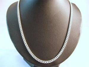 925-Sterling-Silver-3-5mm-Flat-Curb-Chain-30-Inch-long-weight-21-Grams-amp-Pouch