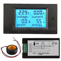 100a Ac 80-260v Digital Power Energy Meter Panel Led Monitor Voltmeter Ammeter
