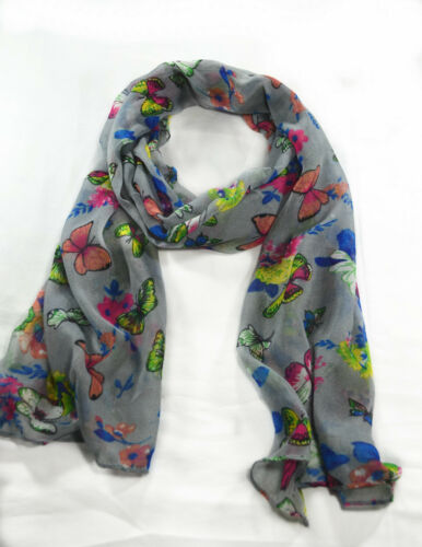 Fashion  Any Season Colorful Butterfly Print Light Weight Soft Long Shawl Scarf