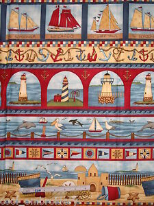 Freedom-Ahoy-Lighthouse-dolphin-sailboat-Teresa-Kogut-cotton-quilt-fabric
