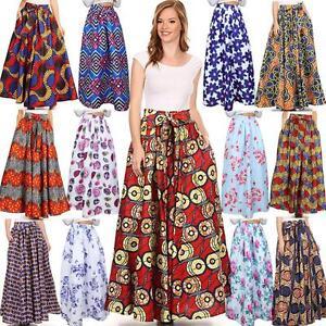48394d728ef New African Ankara Skirt Dashiki Print High Waist Pleated Beach Boho ...