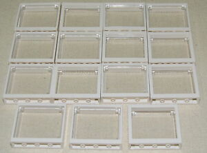 LEGO-LOT-OF-15-NEW-WHITE-1-X-4-X-3-WINDOWS-WITH-GLASS-TOWN-CITY-HOUSE-PIECES