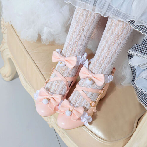 Details about  /Lolita Japanese Round Toe Cute Bows Block Heel Pumps Sweet Mary Jane Shoes Girls