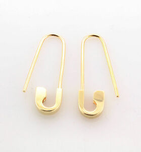 Image Is Loading 14k Yellow Gold Safety Pin Pair Earrings