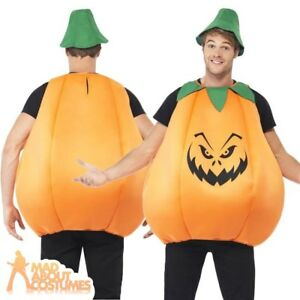 d032afed13c Details about Adult Pumpkin Costume Mens Ladies Womens Halloween Fancy  Dress Couples Outfit