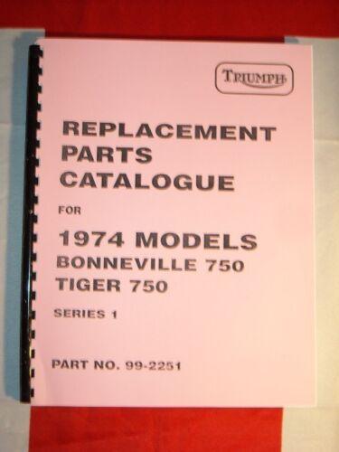 Parts Manual Fits Triumph 1974 T140 Bonneville TR7 TR7 Tiger 750cc Twin Book