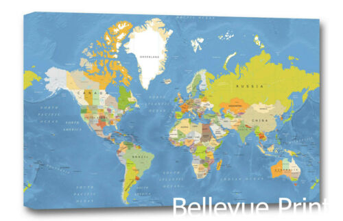 World Map  Wall Art CANVAS Print ready to hang political 001