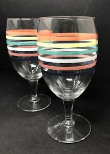 Set-of-2-Libbey-Fiesta-Wine-Water-Stemmed-Glasses-Goblets-w-Stripes