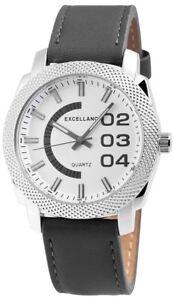 Herrenuhr-Silber-Grau-Analog-Quarz-Metall-Leder-Modern-w-100000300615600