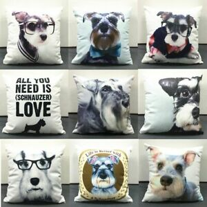 New Schnauzer Dogs Cushion Covers Cute Lovely Pet Dog Cushion Cover Pillow Case Ebay