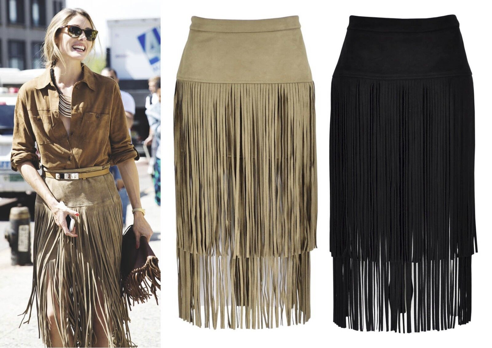 Celebrity Runway Faux Suede Leather Tiered Layer Fringe Tassel Skirt Midi Pencil