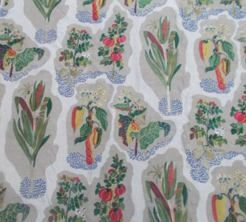 Zoffany Curtain//Upholstery Fabric HARVEST Green//Red 3.2 METRES Embroidered