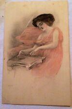 Antique Portrait Pretty Lady Music Postcard Artist Signed Pink Art 1900's Vintag