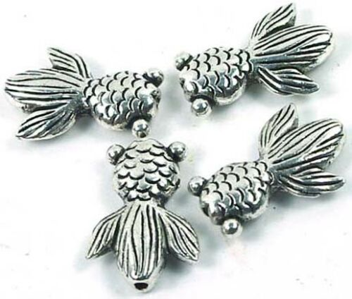 4  Antique Silver Pewter Goldfish Beads 23x16mm
