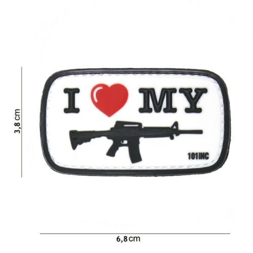 I Love My m4 Blanc #16058 PATCH VELCRO Insigne airsoft paintball Pistole