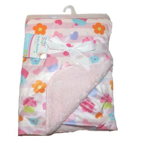 First Steps Mink Sherpa Reversible Baby Blanket 70x100 cm FS543 Baby shower Gift