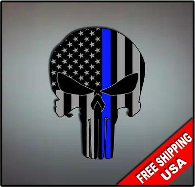 Various sizes Free Ship Punisher Skull Blue Line Flag Window Decal