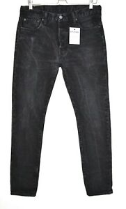 Mens-Levis-501-SKINNY-Washed-Faded-Black-Stretch-Jeans-W32-L30