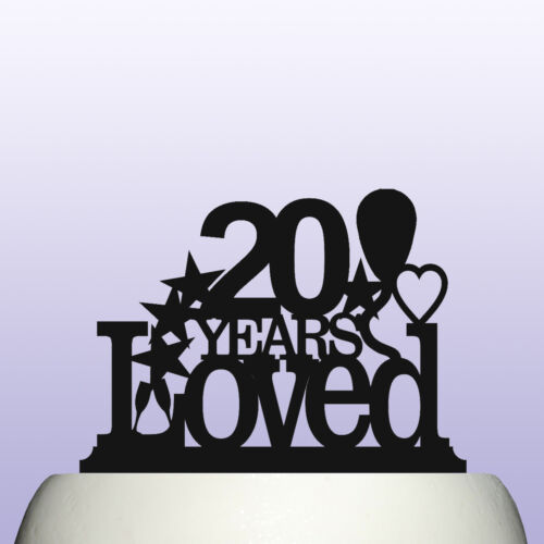 Acrylic 20th Birthday Years Loved Theme Cake Topper Decoration
