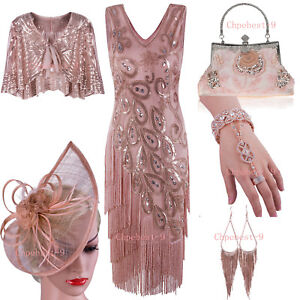 1920s-Flapper-Dress-Great-Gatsby-Charleston-Sequins-Beaded-Fringe-Dress-XXL-Size