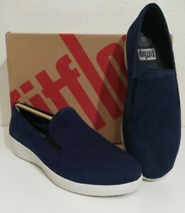 FitFlop-Womens-Superskate-Midnight-Navy-Casual-Velvet-Flats-Size-8-A3