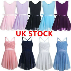UK-Girls-Dance-Ballet-Dress-Gymnastics-Leotard-Tutu-Skirt-Kids-Dancewear-Costume