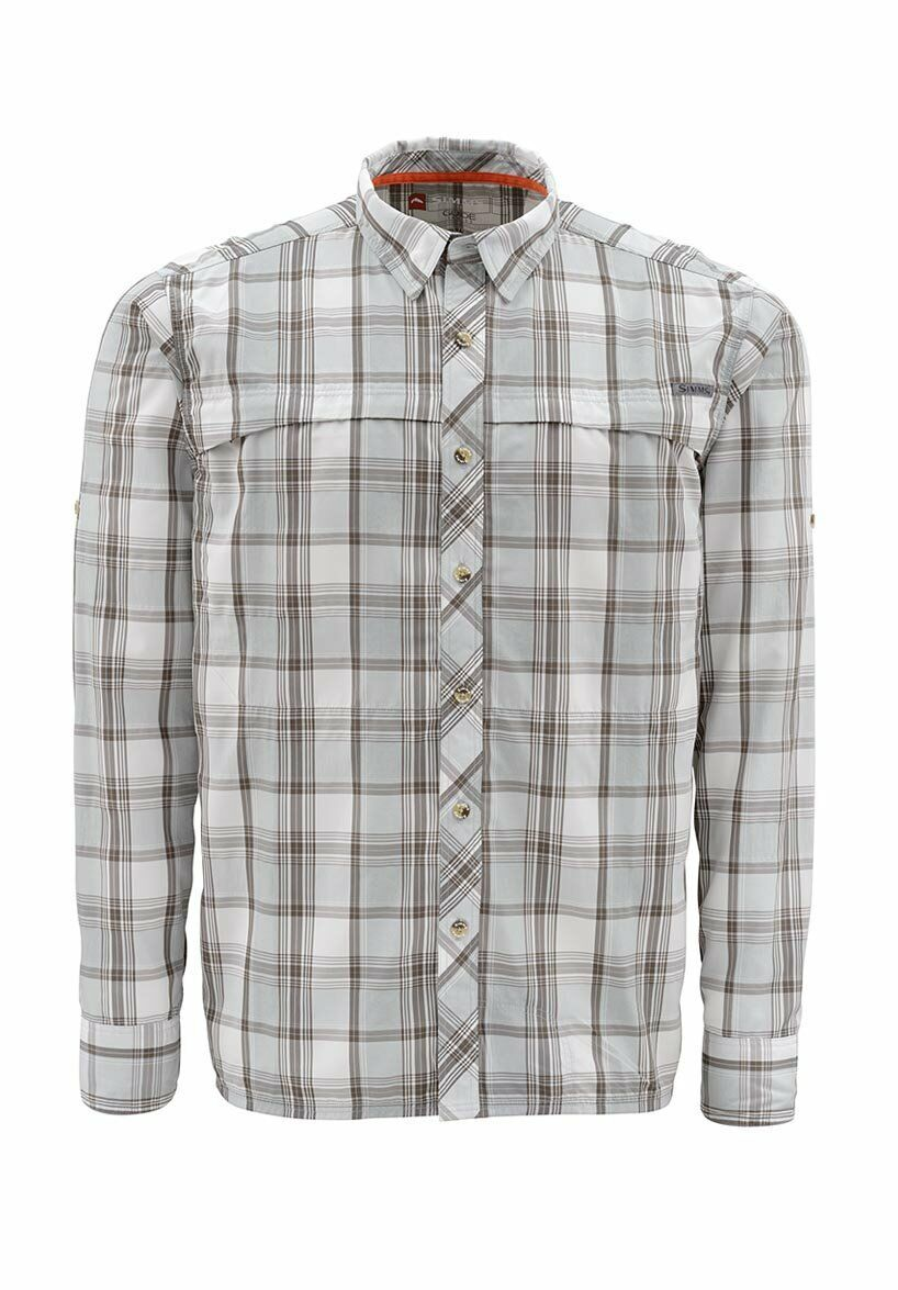 Simms STONE COLD Long Sleeve Shirt  Moonstone Plaid NEW  Closeout Größe XL