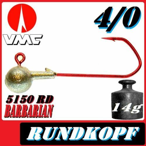 VMC Jigkopfhaken Jigkopf Rund 4//0 14g Jighaken 10 Stück im Set für Gummifische