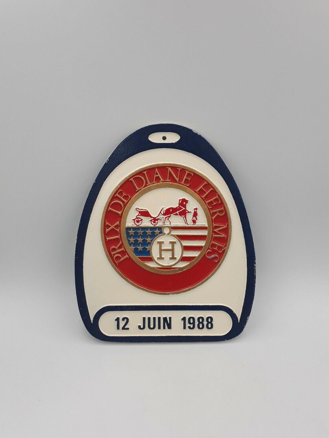 Plaque Prix de Diane HERMES 1988 chantilly S TAUPINARD luxe equitation stirrup