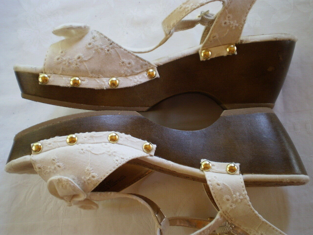 CANDIE'S Girl Women's Wedge Platform Open Sandals WHIT Ankle Straps Open Platform Toe Size 5 921b44