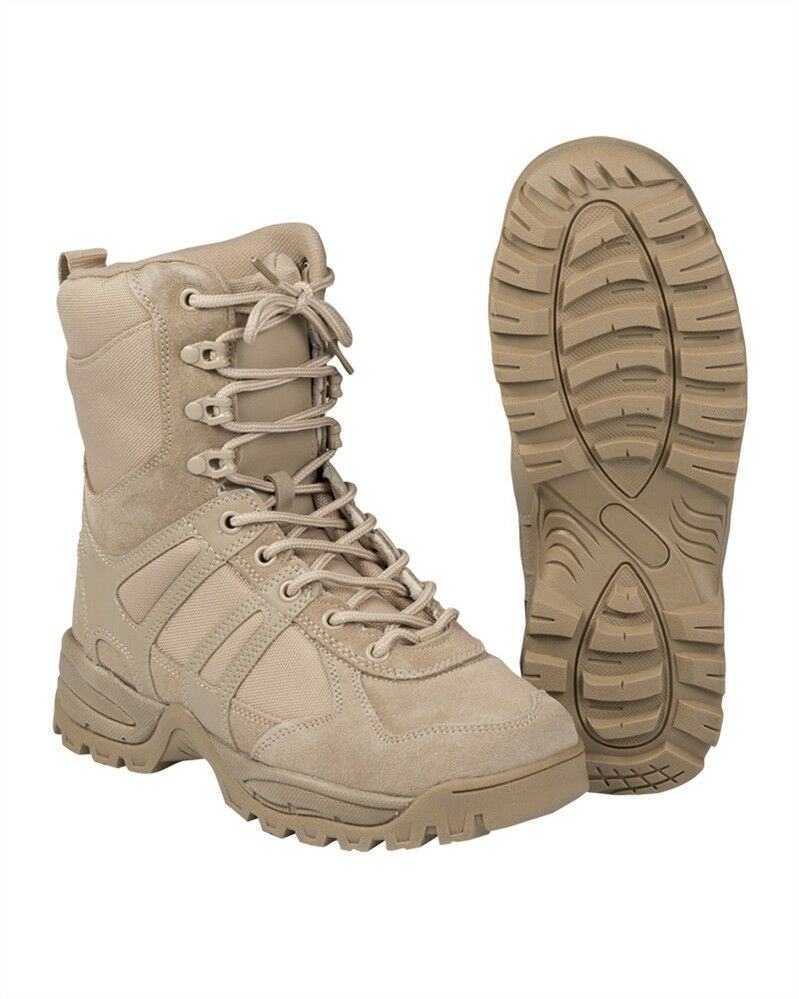 Anfibi Stivali Militari Coyote Miltec Combat Boots In Pelle Tan Sotair Caccia