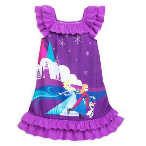 71f1a38b0bded0 NWT Disney Store Elsa Anna Olaf Nightgown Nightshirt Frozen 5/6,9/10 ...