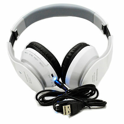 Wireless FM Card Mp3 Stereo Bluetooth Headphone For Cell Phone Laptop ipod PS3