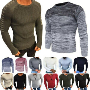 Mens-Jumpers-Round-Neck-Casual-Chunky-Knitted-Slim-Pullover-Witner-Sweaters-Tops