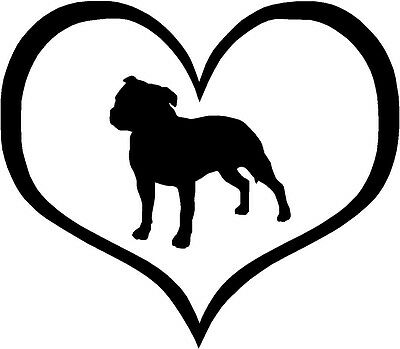 "Staffordshire Terrier Dog Heart 4.3"" x 3.75"" Choose Color - Decal Sticker #1521"