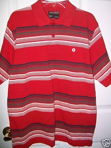 SOUTHPOLE Boys Red Striped Polo Shirt Size 16-18 Large NWT  #46