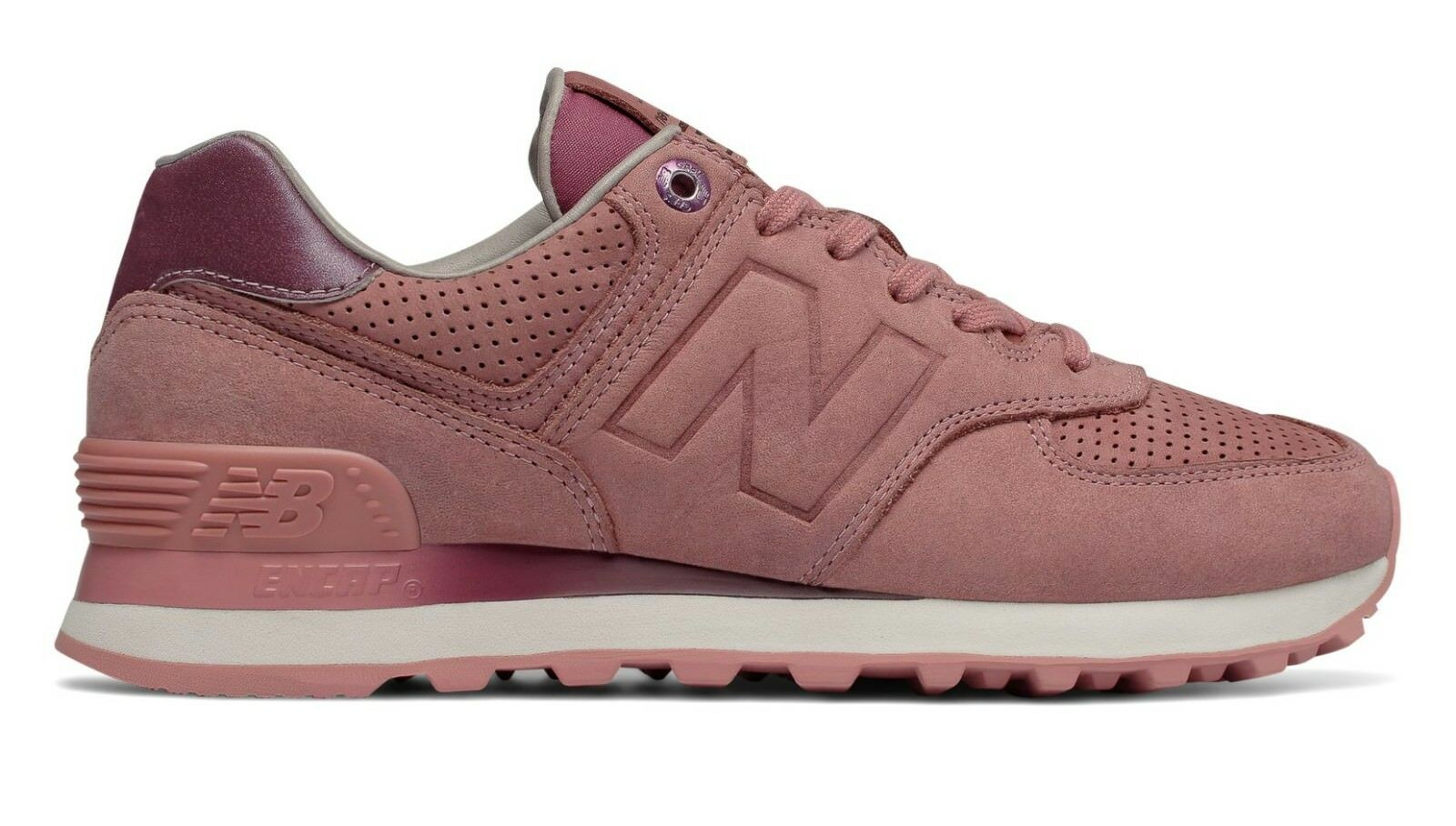 NEW BALANCE WOMEN WL574GRY 574 CLASSICS DUSTED PEACH PINK LEATHER Sneakers