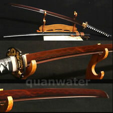 "41""DAMASCUS FOLDED STEEL CLAY TEMPERED RED JAPANESE SAMURAI SWORD KATANA"