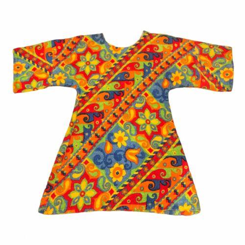 1960/'s Rainbow Striped Shaggy Towel Mini DressTunic