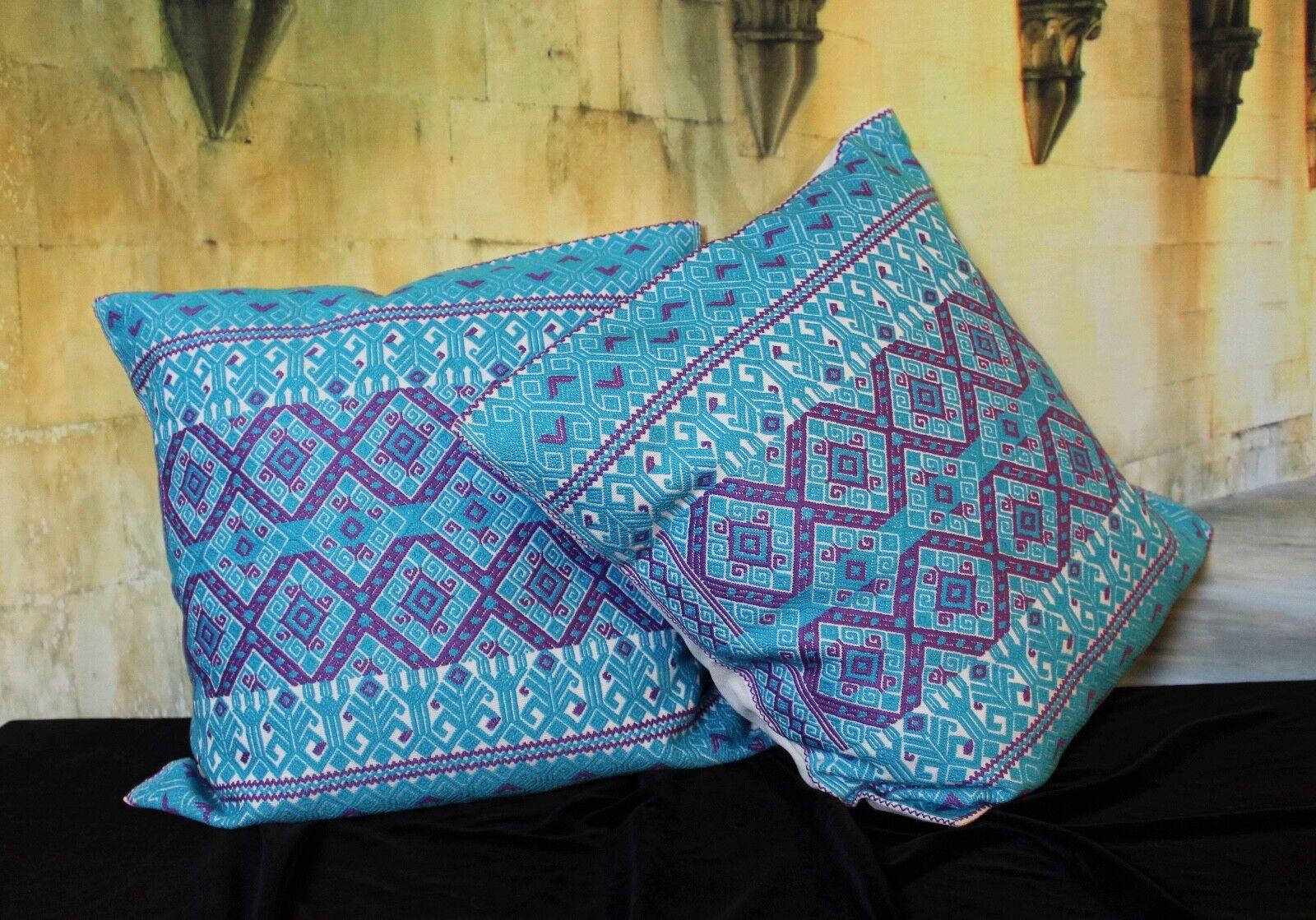 Maya tissés à la main Qualité taies d'oreiller Turquoise & Violet Vendu Séparément  Mexique