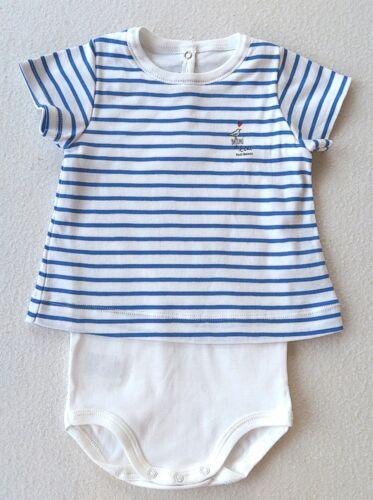 PETIT BATEAU  T-Shirt mit Body blau// weiß Gr 74//12  Monate NEU
